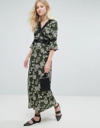 Liquorish Floral Print Maxi Dress - Black