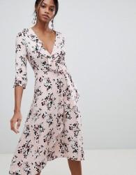 Liquorish Floral Print Wrap Midi Dress - Pink