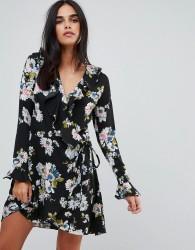 Liquorish Floral Print Wrap Ruffle Dress - Black