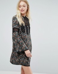 Liquorish Floral Smock Dress With Lace Inserts - Multi