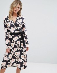 Liquorish Floral Wrap Midi Dress - Multi