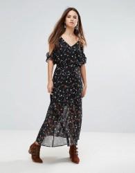 Liquorish Flowy Floral Maxi Dress - Black