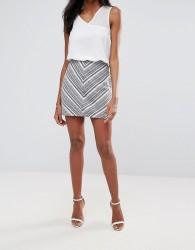 Liquorish Geometrical Jacquard Mini Skirt - Multi
