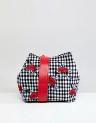 Liquorish Gingham and Floral Shoulder Grab Bag - Multi