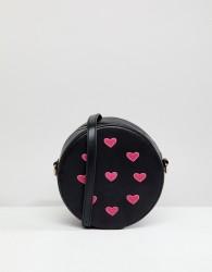 Liquorish Heart Embellished Round Across Body Bag - Black