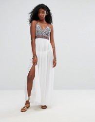 Liquorish Heavy Embroidered Maxi Beach Dress With Metail Ring Detail Back - White