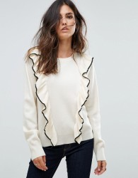 Liquorish Jumper With Ruffle And Contrast Trim - Cream