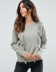 Liquorish Jumper With Ruffle And Contrast Trim - Grey