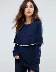 Liquorish Jumper With Ruffle And Contrast Trim - Navy