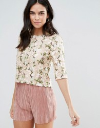 Liquorish Lace Embroidered Crop Top - Pink