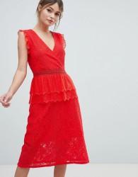 Liquorish Lace Midi Dress - Red