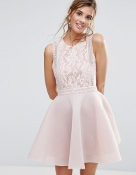 Liquorish Lace Skater Dress - Pink