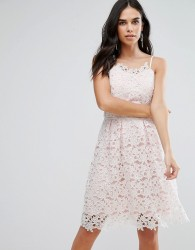 Liquorish Lace Sun Dress - Cream