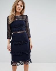Liquorish Layered Lace 3/4 Sleeve Midi Dress - Navy
