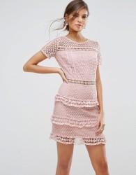 Liquorish Layered Lace Dress - Pink