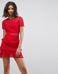 Liquorish Layered Lace Dress - Red