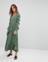 Liquorish Maxi Floral Dress with Frills - Green