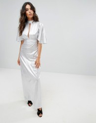 Liquorish Metallic Maxi Dress With Cut Out Front - Silver