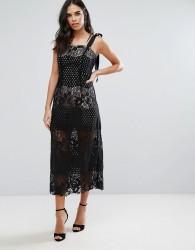 Liquorish Monochrome Lace Maxi Dress - Black