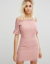 Liquorish Off Shoulder Lace Dress - Pink