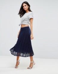 Liquorish Pleated Lace Midi Skirt - Navy