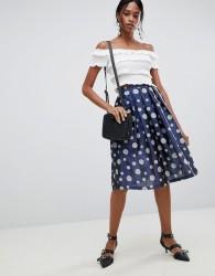 Liquorish Polka Dot Pleated Prom Skirt - Blue