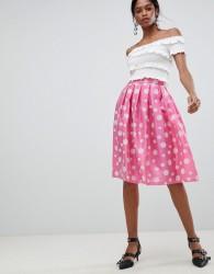 Liquorish Polka Dot Pleated Prom Skirt - Pink