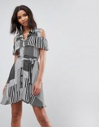 Liquorish Ruffle Front Cold Shoulder Dress In Mix Stripe - Black