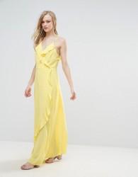Liquorish Ruffle Maxi Dress - Yellow