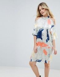 Liquorish Satin Cold Shoulder Print Dress - Cream