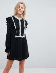 Liquorish Shift Dress With Ruffles and Contrasting Lace Details - Black