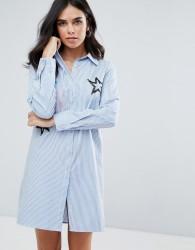 Liquorish Shirt Dress With Embroidered Star Detail - Blue
