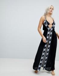 Liquorish Split Front Maxi Beach Dress With Embroidery - Black