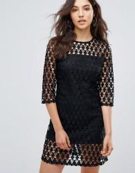 Liquorish Star Lace Shift Dress - Black