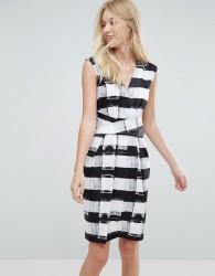 Liquorish Stripe Midi Pencil Dress - Black