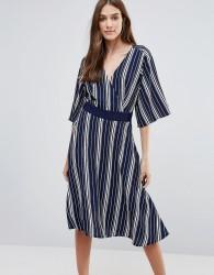Liquorish Striped Wrap Front Dress - Blue