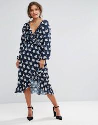 Liquorish Swan Print Wrap Midi Dress with Frills - Navy