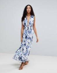 Liquorish Tie Dye Maxi Beach Dress With Side Split - Multi