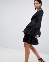 Liquorish Tiered Skirt Skater Dress - Black