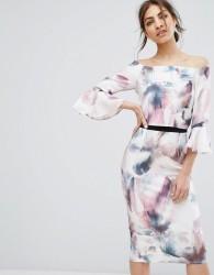 Little Mistress Bardot Midi Pencil Dress with Fluted Sleeve and Print - Multi