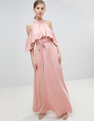 Little Mistress Belted Maxi Dress With Frill Overlay - Pink