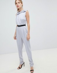 Little Mistress Belted Tailored Jumpsuit - Grey
