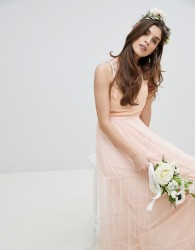 Little Mistress Bridesmaid Sequin Upper Maxi Dress With Tulle Tiered Skirt - Pink