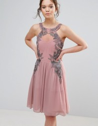 Little Mistress Chiffon Skater Dress With Embellished Detail - Pink
