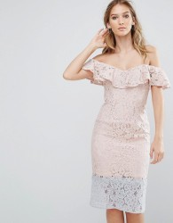 Little Mistress Colour Block Lace Dress With Frill Overlay - Pink