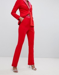 Little Mistress contrast cigarette trouser in pomegranate - Red