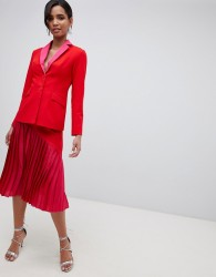 Little Mistress contrast pleated midi skirt in pomegranate - Red