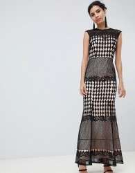 Little Mistress Crochet Maxi Dress - Black