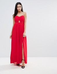 Little Mistress Cut Out Bandeau Maxi Dress - Red