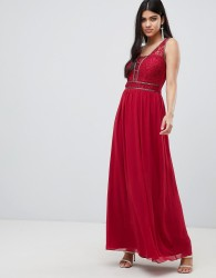 Little Mistress embellished waist maxi in berry - Red